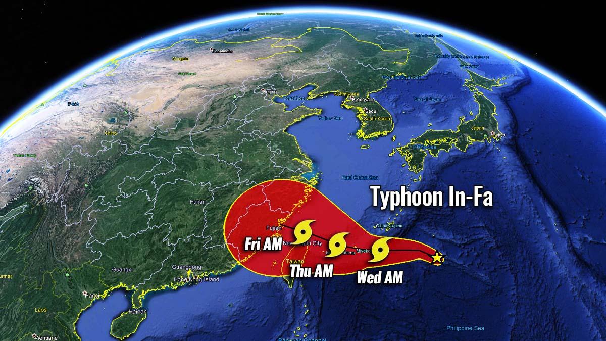 pacific typhoon season 2021 in-fa taiwan potential track