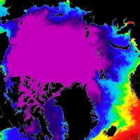 arctic sea ice concentration minimum extent temperature anomamly