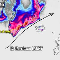 atlantic hurricane season 2021 larry winter storm forecast snow greenland