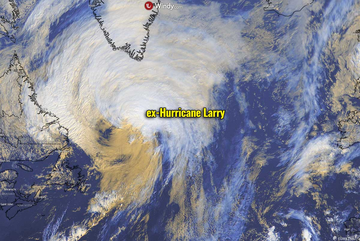 atlantic hurricane season 2021 larry winter storm forecast snow greenland visible satellite