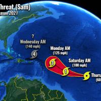 atlantic hurricane season 2021 major storm sam caribbean