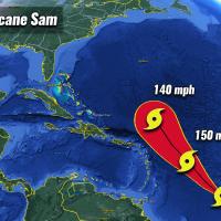 atlantic hurricane season major storm sam now category four