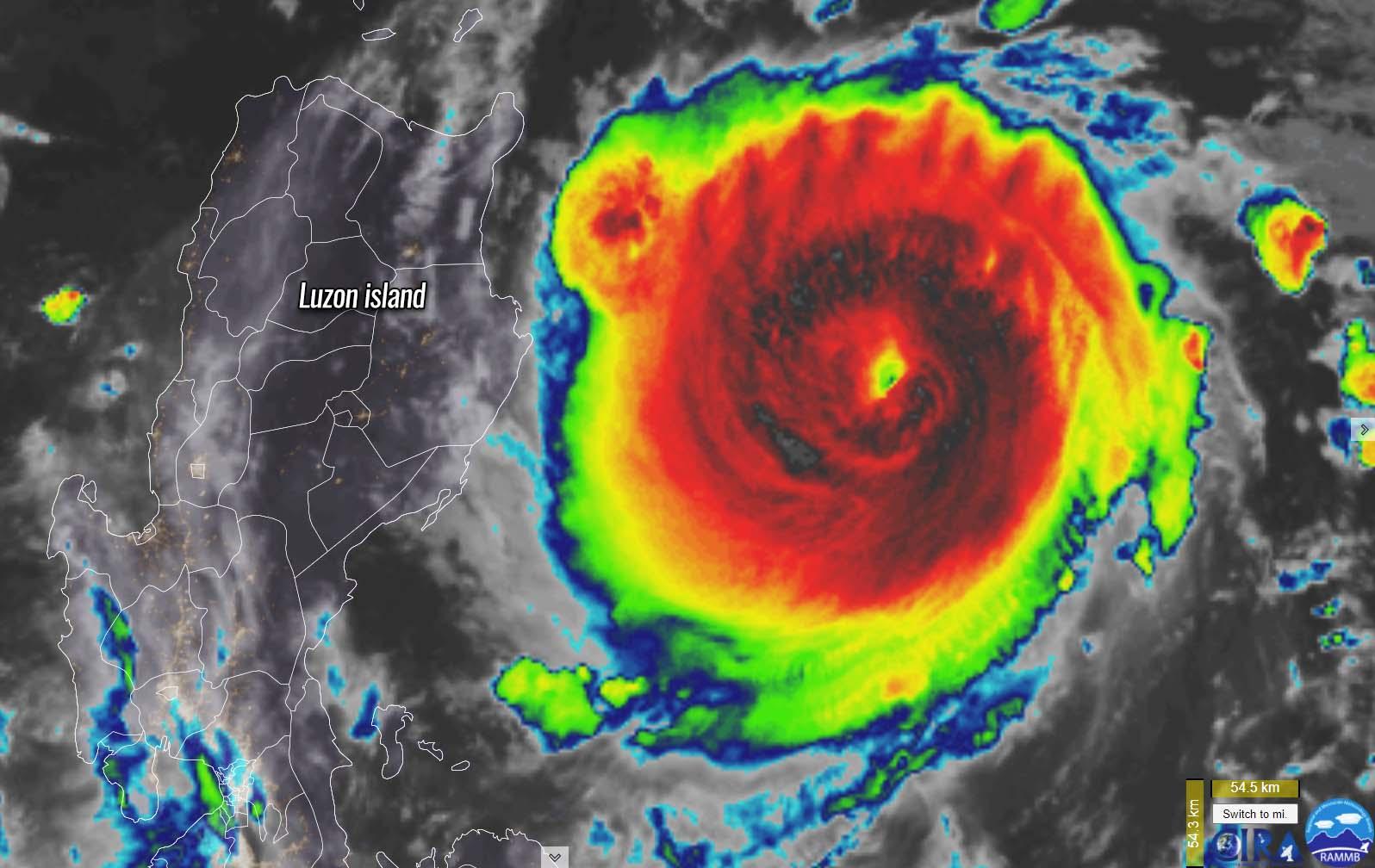 super typhoon chanthu philippines taiwan infrared satellite