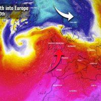warmth europe polar vortex lobe russia