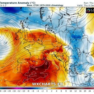 Much warmer weather across of Europe through early December