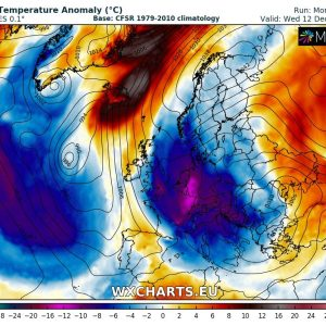 Weekly pattern across Europe overview – warm weather this week, followed by an Arctic outbreak early next week (Dec 4 – 12th)