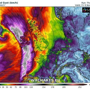 Deep cyclone will bring a potential windstorm into Ireland and western British Isles this Friday, Nov 9th