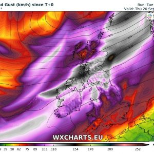 Windstorm 'Ali' to hit northern Ireland and Scotland tomorrow, Sept 19th