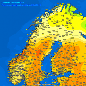 Another very warm day across across northern Europe yesterday, Oct 14th